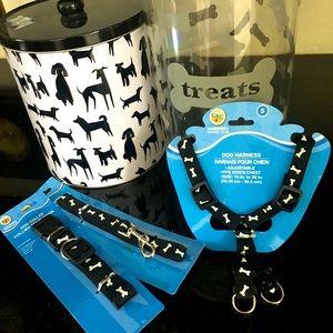 Black & White Dog Gear -Leash, Collar, Harness +